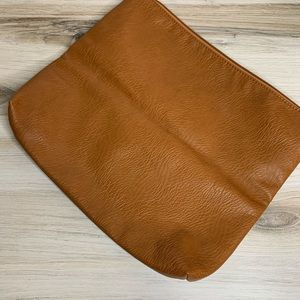 Free People Bags - Free People Cognac Vegan Leather Fold Over Clutch